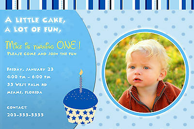30 Invitations Baby Boy 1st Birthday Party Any Age Photo Cards Blue Cupcake