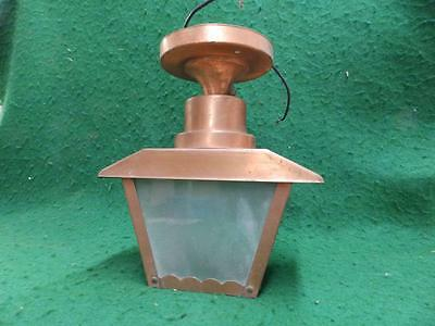 Vintage Copper Porch Ceiling Light Fixture Glass Panels Old Lighting 3114-14