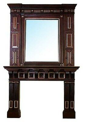 Victorian Mahogany Mantel & Over Mirror, Eastlake, 19th c.  #6259