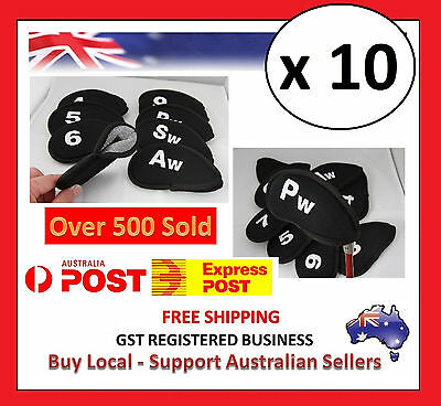 Black Numbered Golf Iron Cover Head Covers X 10 - Over 5000 Feedback