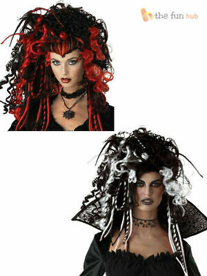 Ladies Deluxe Gothic Vampire Wig Glamour Witch Halloween Womens Fancy Dress