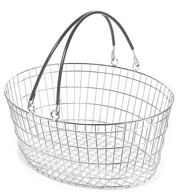 Set of 5 Oval Wire Shopping Baskets Grey Handles. Retail Baskets.