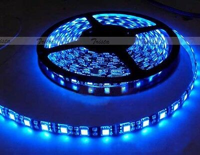 Waterproof Blue 5M 300 Leds 60/M 5050 SMD LED Flexible Strip Light 12V Black PCB