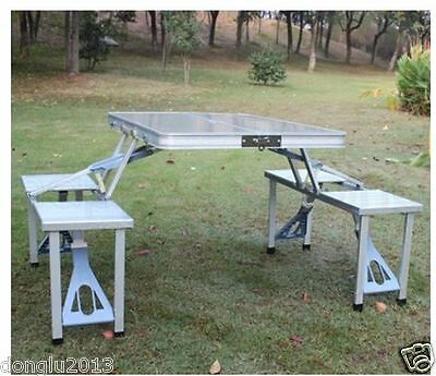 Aluminum Alloy Folding Moveable Picnic Portable Foldable Tables Chairs Furniture