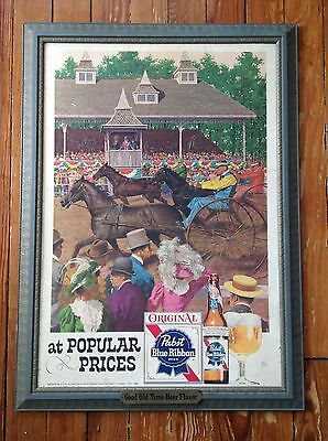 Pabst Blue Ribbon PBR Beer At Popular Price Horse Racing Sign