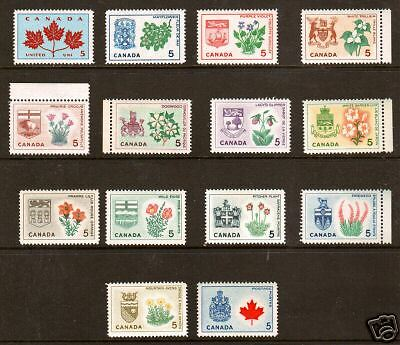 Canada Sc 417-429A MNH 1964-66 Provincial Arms & Flowers, long set of 14, VF