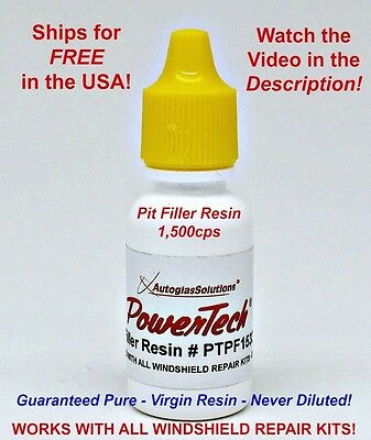 PowerTech Pit Filler Windshield Glass Chip Repair UV Resin .5oz