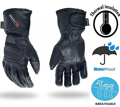 Padded Leather Motorbike Gloves Thermal Waterproof Motorcycle Glove M L XL