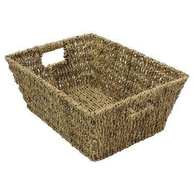 JVL Rectangular Tapered Seagrass Weave Storage Basket with Inset handles