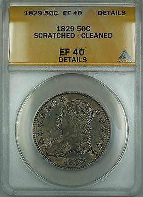 1829 Capped Bust Silver Half Dollar Coin ANACS EF-40 Details Cleaned Scratched