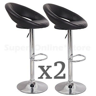 Set of 2 Faux Leather Swivel Bar Stools -Black Kitchen Dining Chair