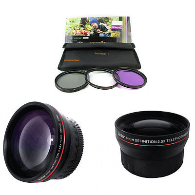 37mm 0.43x wide angle + 2x telephoto for Sony HDR-XR160 XR260 CX