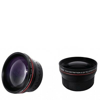 37mm 0.43X Wide Angle + 2X Telephoto Lens for Sony XR500 XR520 HD1000 CX130