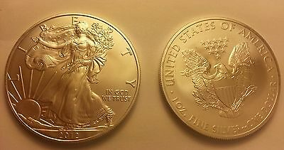 2012 1 oz Silver American Eagle Coin One Troy OZ.999 Bullion NEW! vs. Maple Leaf