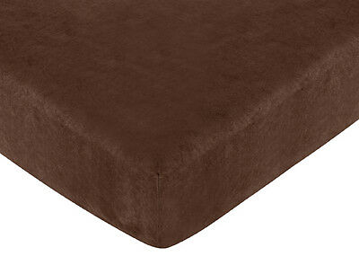 Sweet Jojo Designs All Star Fitted Crib or Toddler Sheet - Solid Brown Chocolate