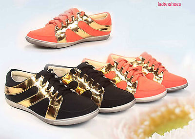 Fashion Causal  Flat Round Toe  Lace Up Sneaker Shoes Size 5.5 - 11 Black Orange