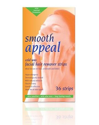 Smooth Appeal Hypoallergenic Facial Hair Remover Waxing Cold Wax - 36 Strips