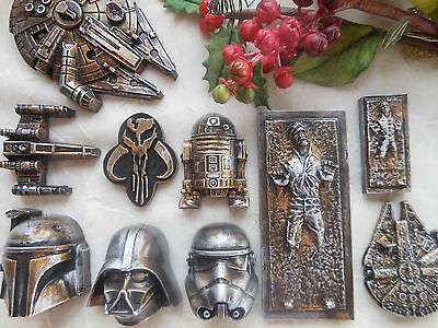 1 X STAR WARS Inspired FRIDGE MAGNET - Distressed Metal Effect, Plain or Painted