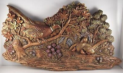 Vintage Pheasants Plaster/chalkware Wall Plaque/hanging Copper Gold Fall Colors