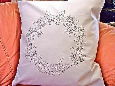 Embroidery printed Cushion Cover pillow meadow flowers White cotton CSOO90