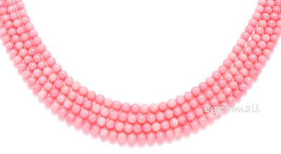 """16.5"""" Bamboo Coral Round Beads 4.5mm Pink Angel Skin #63033"""
