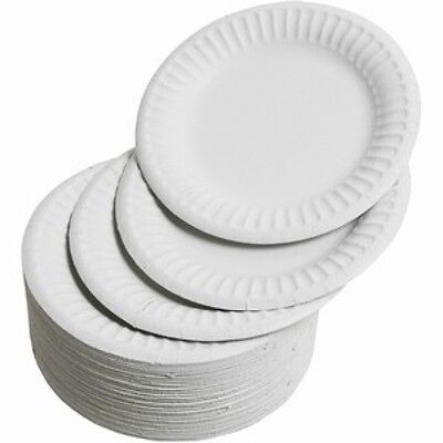 White Disposable Paper Plates Large BBQ Party 23cm 9 Inch 10 25 50 100 250 500