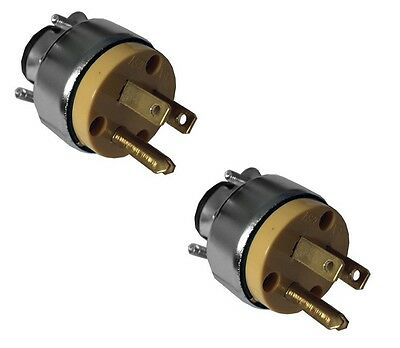 2 PC Male Extension Cord Replacement Electrical Plugs 15AMP 125V 3 Prong