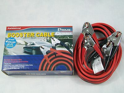 Heavy Duty 20' Booster/Jumper Cables 4 Gauge 100% Copper Fast - Free - Shipping