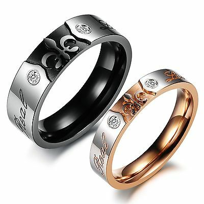 "Titanium steel Couple Rings ""Real Love"" Carved His And Her Wedding Bands Set 384"