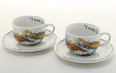 New boxed Paul Cardew Alice in Wonderland 2 x 8oz tea cup & saucer set