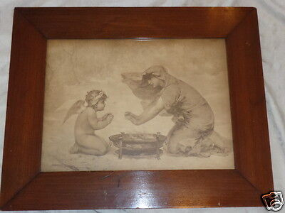 Antique Victorian Signed Aubert Lady Cherub Warming Hands Print Original Old