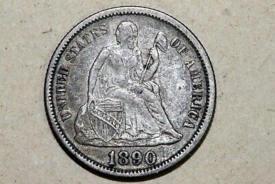 About Uncirculated 1890-P Liberty Seated Silver Dime 10C (KEV114-8)