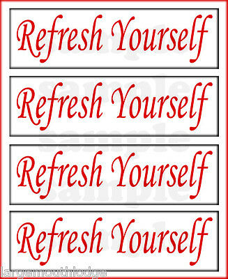 Refresh Yourself 2 Inch Gumball Machine Decal Set (4) Coke Red
