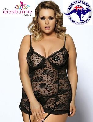 6 - 24 Plus size Black Lace Ruffle Underwired Babydoll Lingerie