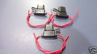 3 x Medium ATO fuse holder with 16 gauge inline wire Weather proof design