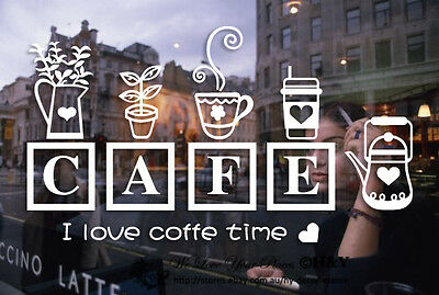 Coffee Cafe Cake Shop Window Stickers Decal Vinyl Business Sign Lettering Decor