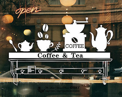 Cake Coffee Cafe Shop Window Sign Stickers Decal Vinyl Business Lettering Decor