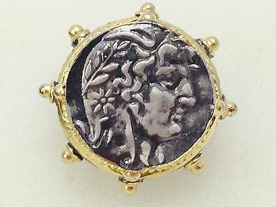 925 Sterling Silver Ring Roman Coin Replica Gold Plated Size 8 17 57 silverbar55