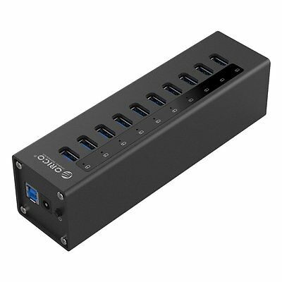 Orico Aluminium 10 Port USB 3.0 Hub with 36W Power Adapter & 1M Data Cable - BK
