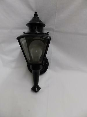 Vintage Brass Lantern Wall Sconce Light Fixture Beveled Glass Panels 3167-14