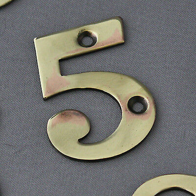 Antique Victorian Solid Brass Numerals #5