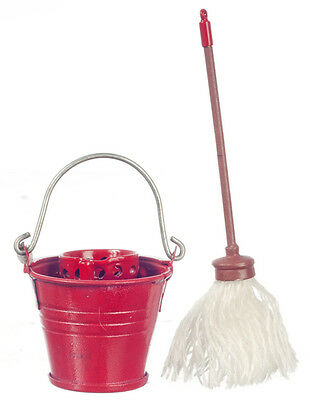 Floor Mop & Tin Bucket with Wringer, Dolls House Miniature, Cleaning up