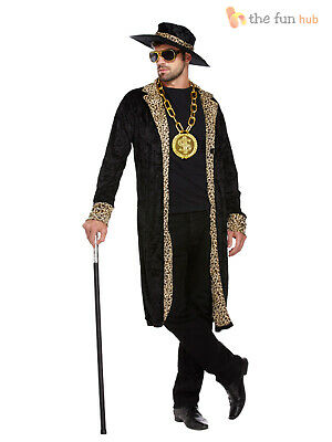Mens Pimp Fancy Dress Costume + Hat 1970s Retro Big Daddy Rapper Gangster Outfit