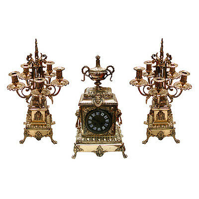 Antique 19th C. Cast Bronze 3-Piece Clock Set with Lions #6296