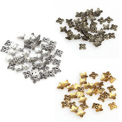 100pc Retro Silver/Golden/Bronze Metal With Hole Tone Leaf Bead Caps For Jewelry
