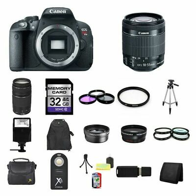 Canon EOS Rebel T5i/700D DSLR Camera w/18-55mm & 75-300mm 32GB Total Kit