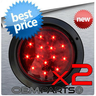 "2X ROUND 4"" TRUCK TRAILER RED LED LIGHT STOP TURN TAIL SURFACE FLUSH MOUNT USA"