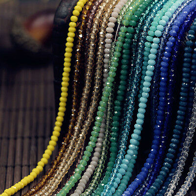 Lots Rondelle Faceted Crystal Glass Loose Spacer Beads 4/6/8/10mm Jewelry DIY