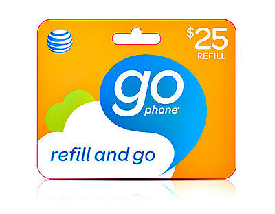 US AT&T Go phone $25 Refill , WORLDWIDE