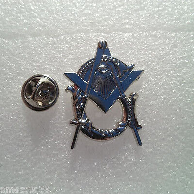 LARGE MASONIC ANTIQUE Style Master Mason Lapel Pin BRITE Silver Finish